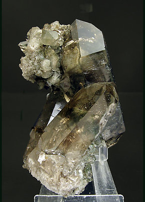 Quartz (variety smoky) with inclusions and Chlorite. Front