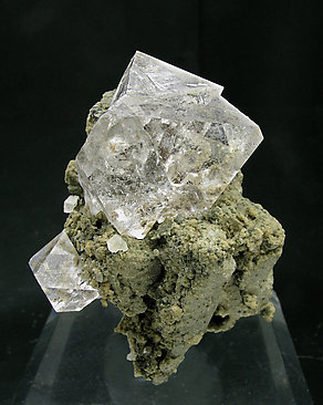 Octahedral Fluorite with Galena and Siderite.