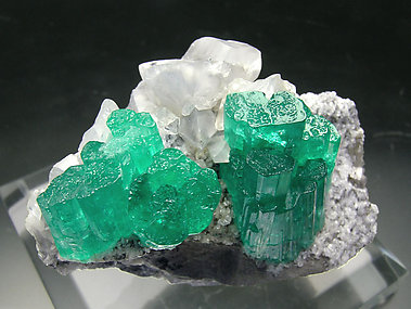 Beryl (variety emerald) with Calcite. Top