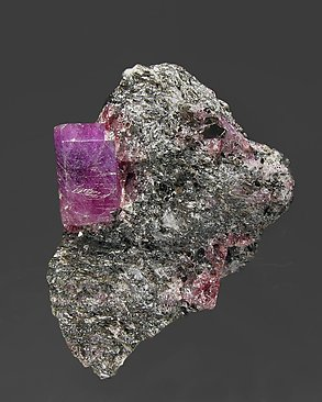 Corundum (variety ruby) with Pyrope (variety rhodolite) and Muscovite.