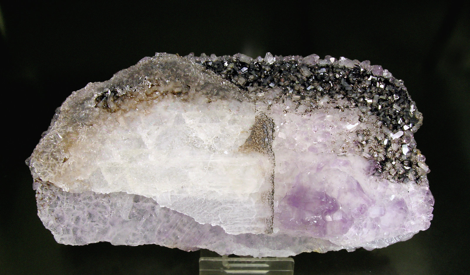 Quartz (Amethyst) after Calcite with Hematite
