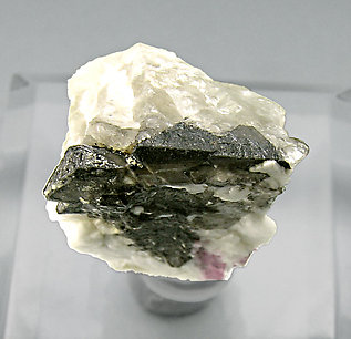 Schiavinatoite with Elbaite, Danburite and smoky Quartz. Top