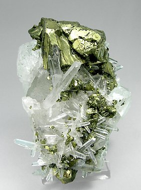 Chalcopyrite with Quartz and Fluorite.