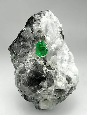 Beryl (variety emerald) with Calcite.