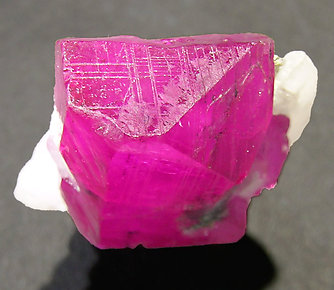 Corundum (variety ruby) with Calcite. Top
