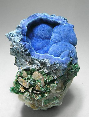 Shattuckite with Cerussite and Malachite.
