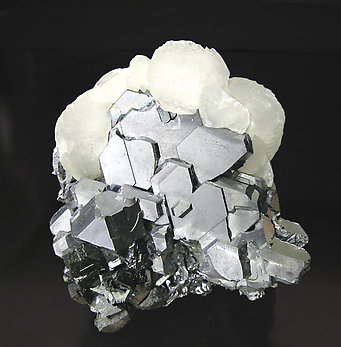 Twinned Galena with Calcite and Sphalerite.