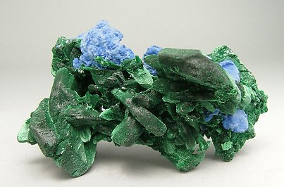 Malachite pseudo Azurite with Plancheite.