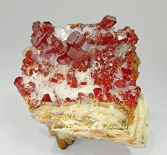 Vanadinite with Barite and Gypsum. Front