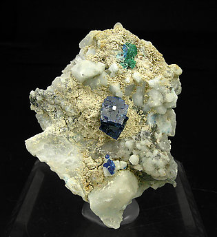 Boleite with Quartz, Gypsum and Brochantite.