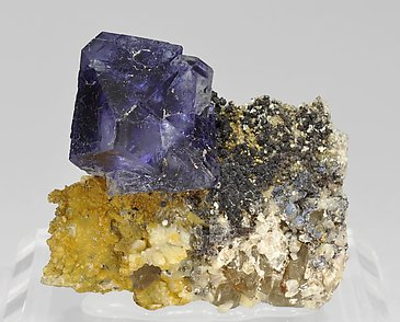 Octahedral Fluorite with Albite and smoky Quartz.