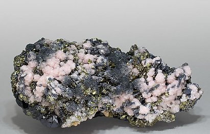 Rhodochrosite with Sphalerite, Galena, Chalcopyrite and Calcite.