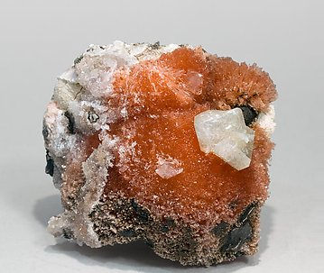 Inesite with Hydroxyapophyllite-(K), Calcite and Prehnite.