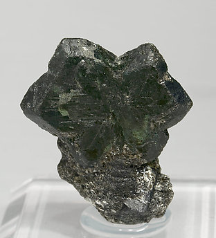 Twinned Chrysoberyl (variety alexandrite). Front - Fluorescent light (day light)