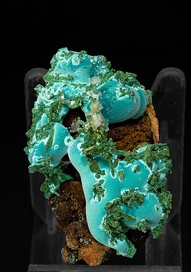 Rosasite with Conichalcite and Calcite.