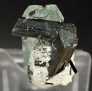 Beryl (variety aquamarine) with Schorl and Albite. Bottom