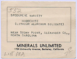 Spodumene (variety hiddenite)