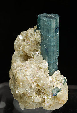 Elbaite (variety indicolite) with Quartz and Muscovite.