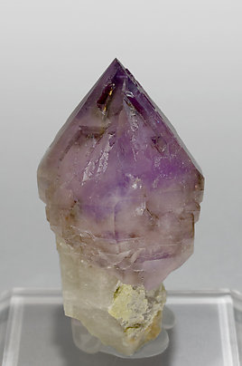Sceptered Quartz (variety amethyst) with smoky Quartz. Front