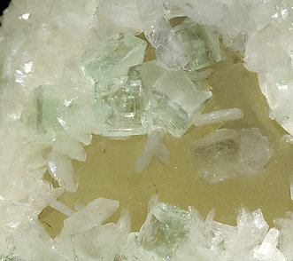 Calcite with Stilbite and Fluorapophyllite-(K).