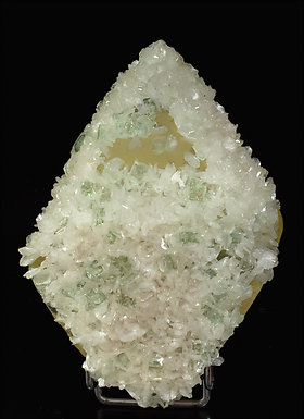 Calcite with Stilbite and Fluorapophyllite-(K). Front