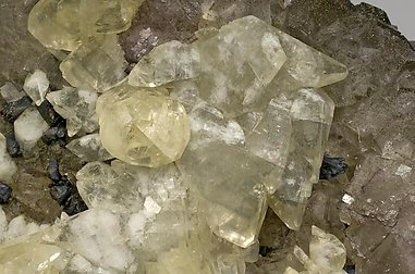Fluorite with Calcite, Chalcopyrite and Sphalerite.
