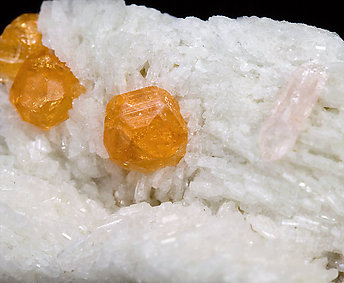 Spessartine with Spodumene (Kunzite), Albite and Lepidolite.