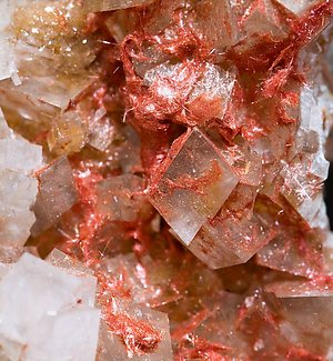 Calcite with Cuprite (variety chalcotrichite).