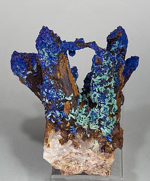 Quartz with Azurite and Malachite. Rear
