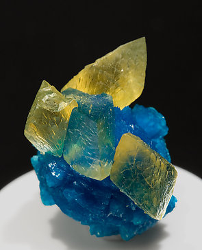 Cavansite with Calcite. Front