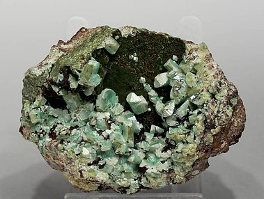 Adamite (variety cuprian) with Olivenite.