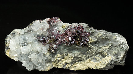 Proustite with Chalcopyrite and Calcite.