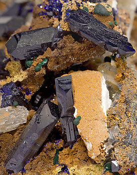 Azurite with Cerussite and Malachite.