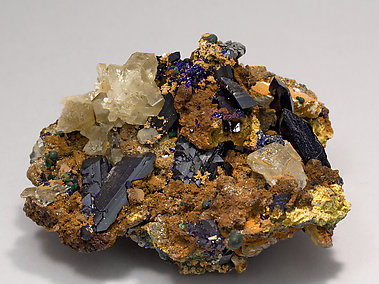 Azurite with Cerussite and Malachite. Front