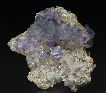 Topaz with Fluorite, Arsenopyrite, Quartz and Calcite.