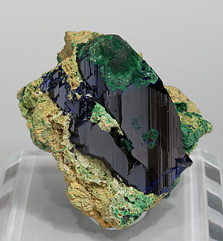 Azurite with Bayldonite and Malachite. Front