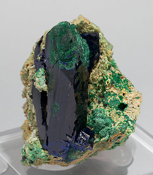 Azurite with Bayldonite and Malachite. Side