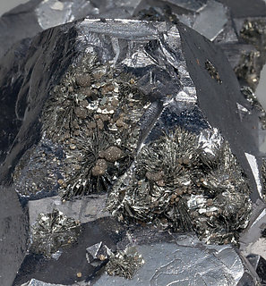 Galena with Semseyite, Siderite, Pyrrhotite and Pyrite.