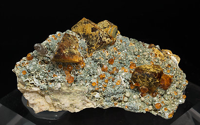 Helvine with Spessartine, smoky Quartz and Chlorite.