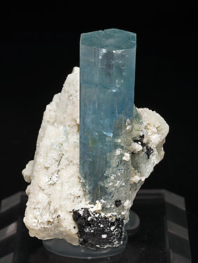 Beryl (variety aquamarine) with Schorl and feldspar. Front