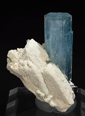 Beryl (variety aquamarine) with Schorl and feldspar. Rear