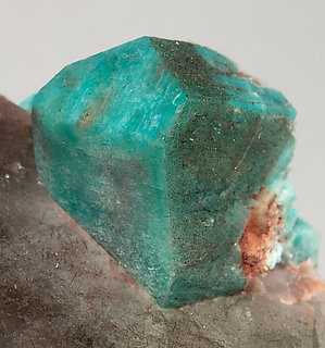 Microcline (variety amazonite) with Quartz (variety smoky).