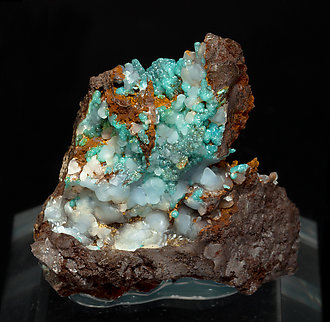 Adamite (variety cuprian) with Smithsonite.