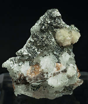Bavenite with chlorite, Garnet, Quartz and Microcline.