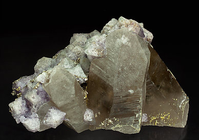 Smoky Quartz with octahedral Fluorite and Pyrite. Front