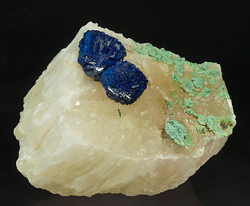 Azurite with Malachite and Gypsum. Side