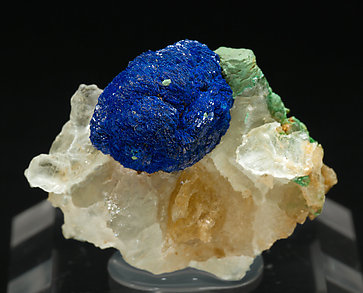 Azurite with Malachite and Gypsum.