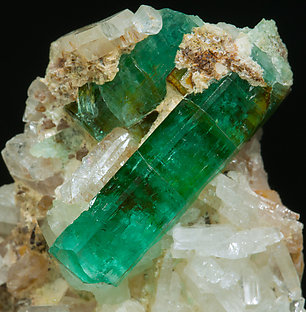 Beryl (variety emerald) with Albite.