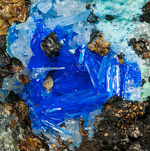 Linarite with Cerussite, Caledonite and Brochantite.