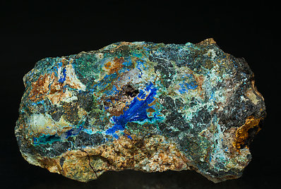 Linarite with Caledonite, Sphalerite, Quartz and Chalcopyrite.